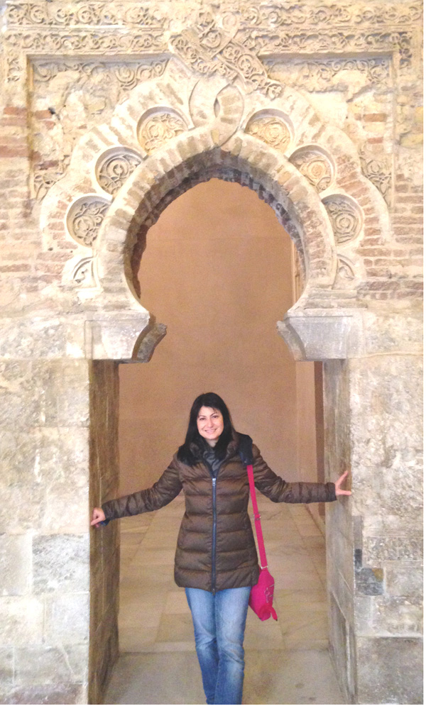 Jackie in Monreale's cloister.